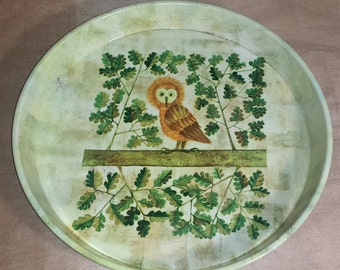 Mid Century Modern Castelbajac Owl Serving Tray / MCM Worcester Ware England Round Metal Serving Tray