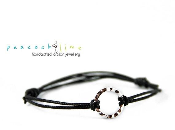 Karma Circle Wish bracelet // choice of waxed cord // sterling silver circle charm wish friendship bracelet // handmade // ready to ship