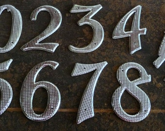 "3-3/4"" inch Vintage Textured Metal Numbers, 2, 3, 4, 5, 6, 7, 8, 9, 1/2, House Number"