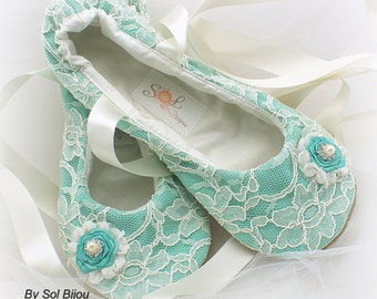 Ballet Flats, Tiffany is Blue, Ivory, Aqua, Blue, Wedding Flats, Bridal Shoes, Ballet Slippers, Flower Girl, Lace Flats, Crystals, Pearls