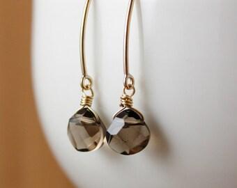 Smokey Quartz Earrings - Hook Earrings - Gold, Silver