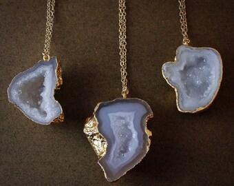 50% OFF SALE - Gold Geode Necklaces - Choose Your Geode - 14K Gold Filled
