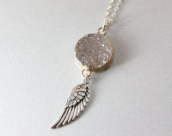 50% OFF SALE - Silver Druzy & Angel Wing Necklace - Layering Necklace - Charm Necklace