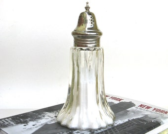 vintage pressed glass and silver sugar shaker    ...   muffineer   ...   caster
