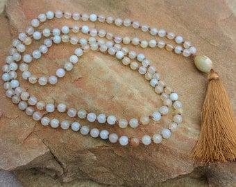 Jade Beaded Tassel Necklace, Boho Chic Layering Necklace, Celebrity Style