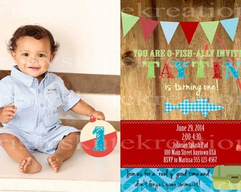 Digital 1st Birthday Fishing Invitation