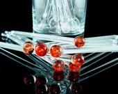 Glass Drink & Coffee Stir Sticks Swizzle Sticks Handmade Lampwork Red (Set of 8) Free Shipping