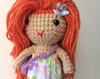 Handmade doll, Crochet doll, Stuffed doll, Soft toy, Cuddly first doll, holiday toy,  ready to ship doll