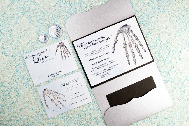 Halloween Wedding Invitation Suite, Goth Wedding, Metallic Silver ...
