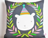 decorative throw pillow for kids room with polar bear & leaves wreath in gray - 12 inch / 30 cm
