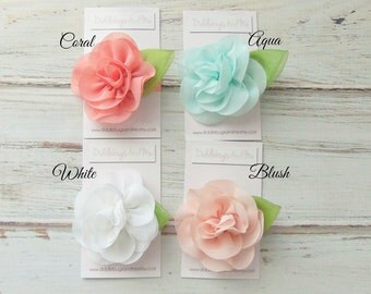 Chiffon Rose Hair Clip, Coral Rose Hair Clip, Flower Hair Clip, Chiffon Rose Hair Clip, Photo Prop, Flower Girl Hair Clip, Rose Clip