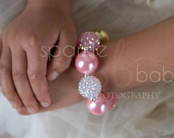 Girls Pink and Gold Chunky Bracelet, Girls Bubblegum Bracelet, Girl's Jewelry, Girls Bracelet, Gold and Pink Bubblegum Bracelet