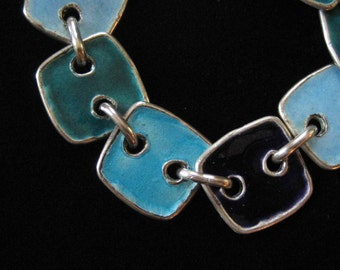 Sterling Silver Blue and Teal Enamel Bracelet