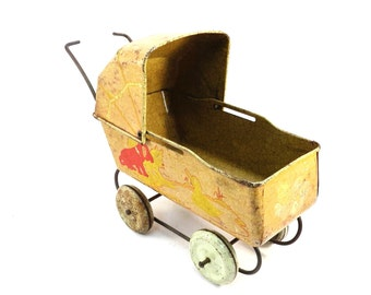 Tin Litho Doll Carriage Vintage 1930s Metal Doll Buggy