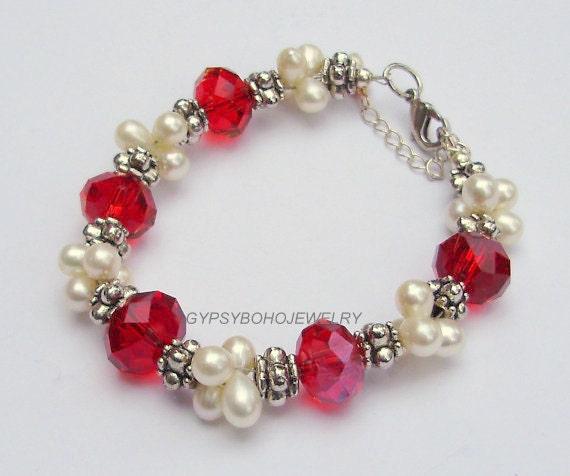 One Of A Kind Red SWAROVSKI Crystal / White Freshwater Pearl STERLING Silver Bracelet - Tibetan Silver Accent - Birthstone Bracelet -  Usa