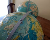 Vintage World Globe HUGE Nystrom Sculptural Relief Rotates Tilts Turns School Home Decor Industrial