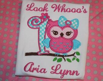 1st birthday Owl- Look who's 1- bodysuit, tshirt, or ruffle dress