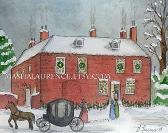 Chawton Cottage Christmas in Red.  Art Print.  Jane Austen.