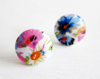 Fabric Button Earrings / Clip On Earrings - pink and blue floral earrings