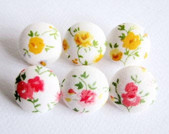 Sewing Buttons / Fabric Buttons - 6 Small Fabric Buttons Set - Pink and Yellow Floral on White