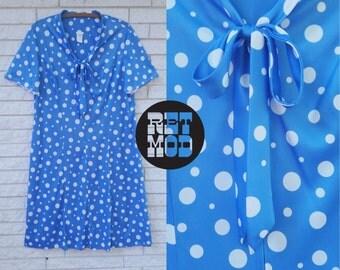 Super Cute Blue and White Polkadot Tie Dress - Lightweight Fabric! Plus Size!