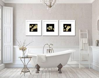 Photograph of Dogwoods / nature art print set / botanical wall art / floral home decor / black, golden, red, creme / wall decor / feminine