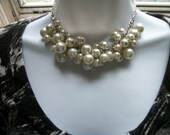 Bridal Pearl Clusters Necklace + Earrings set