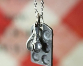 Cupcake Pan Necklace Sterling Silver Filled Chain - Baking Gift, Mothers day gift