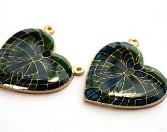 2 Vintage 1970s Art Nouveau Enamel Butterfly Heart Pendant // 70s 80s NOS Craft Jewelry Supply //  Rene Lalique Style Jewelry