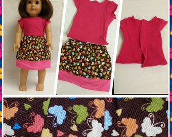 Brown Butterfly Skirt with Pink Tee - free shipping with another purchase
