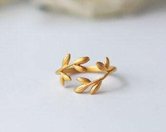 Laurel Leaves Adjustable Matte Gold Ring Laurel Branch Romantic Feminine Grecian Greek Peace