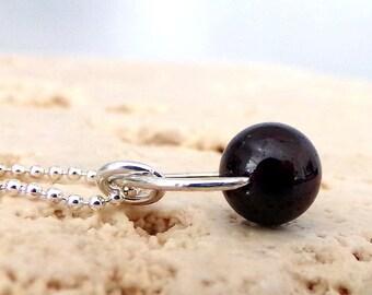 Garnet Necklace, Garnet Gemstone Necklace, Sterling Silver, January Birthstone, Simple - Cabernet