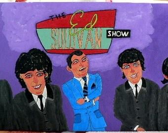 Folk art painting beatle Ed Sullivan souvenir legend new 12x24 naive