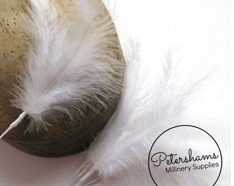 6 Stems of Wired Fluffy Marabou Feathers for Fascinators & Wedding Bouquets (18 feathers) - White
