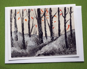 First Snow -   Hand Painted Landscape Greeting Card