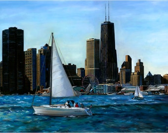 Chicago Lake Michigan Oil Painting - 18x14in Giclee Print