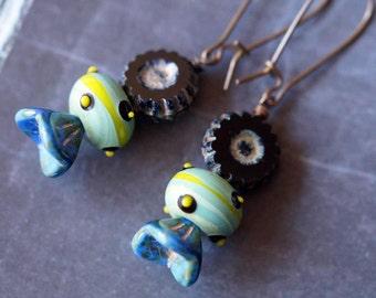 Black Boho Earrings - Hawaiian Flower Earrings - Black Earrings - Bead Soup Jewelry