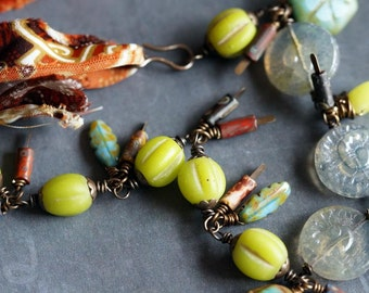 Primitive Necklace - Ectectic Jewelry -  Chartreuse and Grey - Rustic - Bohemian Necklace - Bead Soup Jewelry