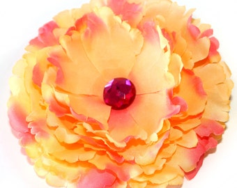 Peach and Pink Peony Hair Flower Clip - EMBELLISHED with Pink Crystal