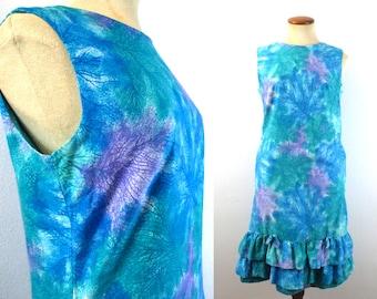1960s Mini Dress Summer Sundress Sleeveless Drop Waist Shift Ocean Blue Ruffled Hem Bows Hawaii Luau Vintage 60s Cotton Underwater S Small