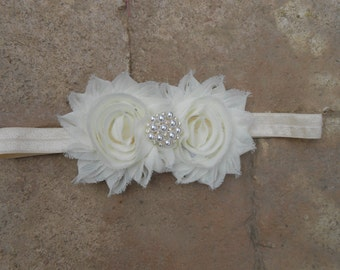 Cream shabby flower headband with a gorgeous pearl and rhinestone center newborn-toddler-girls