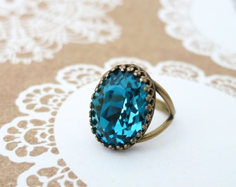 SALES - Indicolite Blue Crystal Cocktail Ring, Brass Adjustable Ring Swarovski Crystal Oval Stone Cocktail Ring Vintage Statement Ring