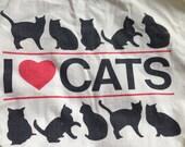 For Feline Fans .Canvas Cotton Cat Love Bag .1990s carryall .Crazy Cat Lady Chic