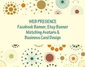Social Media Package, Facebook Banner, Etsy Banner, 2 Avatars, and Business Card design