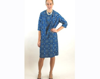 1960s shantung silk dress and jacket, blue dress and jacket, Asian inspired, shift dress, Size M/L