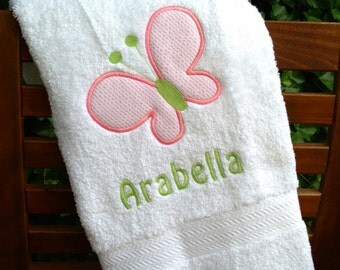 Monogrammed Kid's Bath Towel with Butterfly Applique -  perfect for the beach, bath or pool