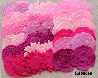 Tickled Pink - Super Pack - 132 Die Cut Wool Blend Felt Flowers