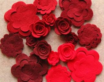 Wild Berries - 3D Rolled Roses Small & Medium - 24 Die Cut Felt Flowers - Unassembled Rosettes