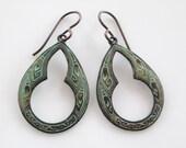 Celtic Verdigris Earrings- Small Hoop Medallion Earrings- Bohemian Verdigris Earrings- VG-1