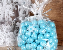 Snowflake Cellophane Bags & Twist Ties, Christmas Treat Bags, Clear Candy Bags, Snowflake Favor Bags, Clear Treat Bags, Sweet Bags (12)